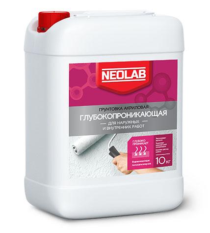 Грунтовка акриловая ГЛУБОКОПРОНИКАЮЩАЯ для наруж. и внутр. работ 10 кг (уп.2 шт.) NEOLAB