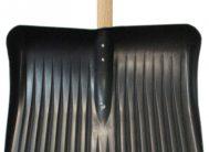 Лопата для снега плас. 400*490 с метал.планкой с дер.чер и V-ручкой №1*