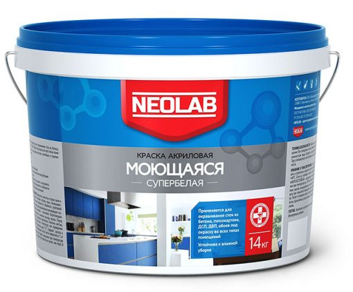 Акриловая супербелая краска МОЮЩАЯСЯ ВД-АК-1180 25 кг (уп.1 шт.) NEOLAB