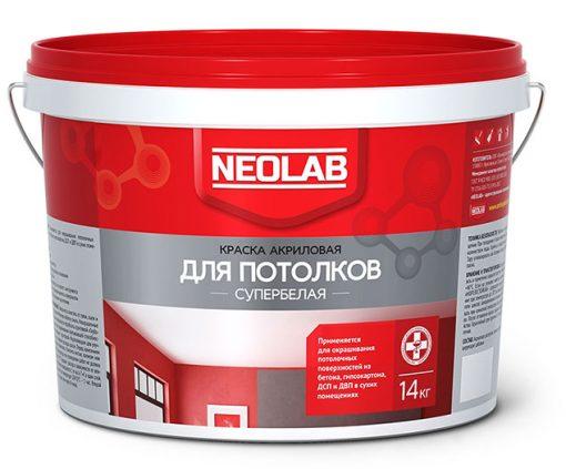 Акриловая супербелая краска ДЛЯ ПОТОЛКОВ ВД-АК-2180 14 кг (уп.1 шт.) NEOLAB