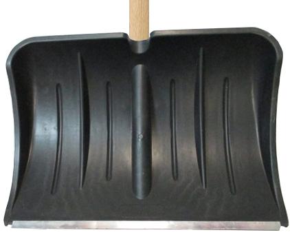 Лопата для снега плас. 540*370 с метал.планкой с дер.чер и V-ручкой №13*
