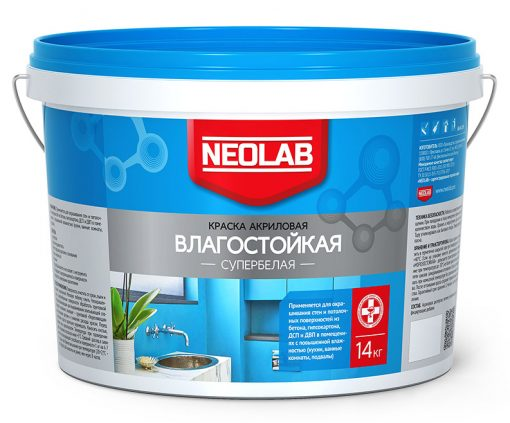 Акриловая супербелая краска ВЛАГОСТОЙКАЯ 14 кг (уп. 1 шт.) NEOLAB