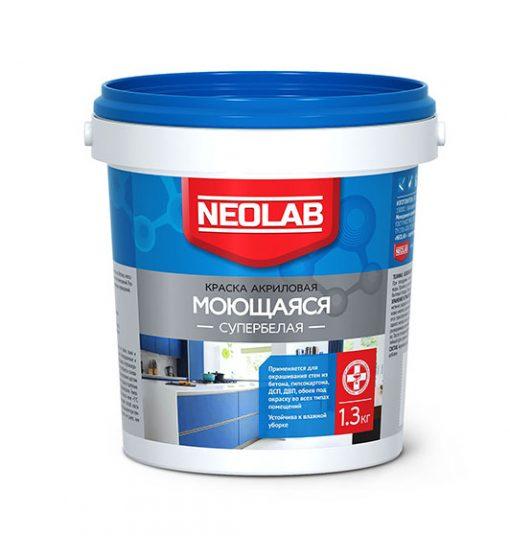 Акриловая супербелая краска ВЛАГОСТОЙКАЯ 1,3 кг (уп. 12 шт.) NEOLAB