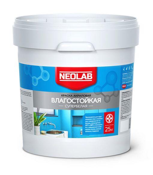 Акриловая супербелая краска ВЛАГОСТОЙКАЯ 25 кг (уп. 1 шт.) NEOLAB