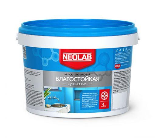 Акриловая супербелая краска ВЛАГОСТОЙКАЯ 3 кг (уп. 4 шт.) NEOLAB